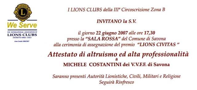 Premio Lions Civitas a Michele Costantini
