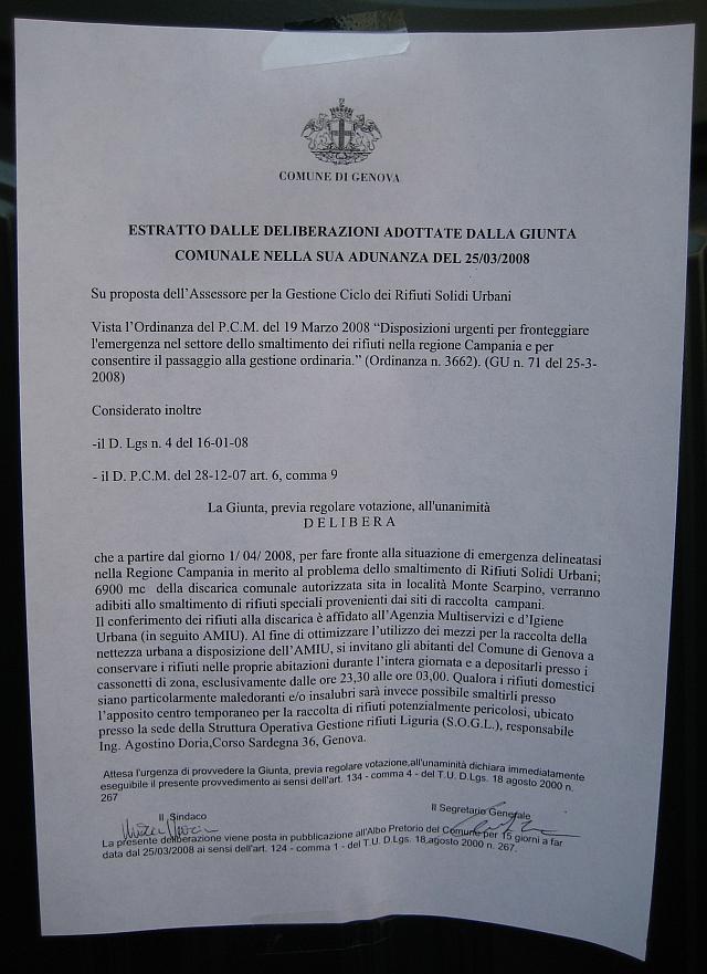 Ordinanza Rifiuti Genova