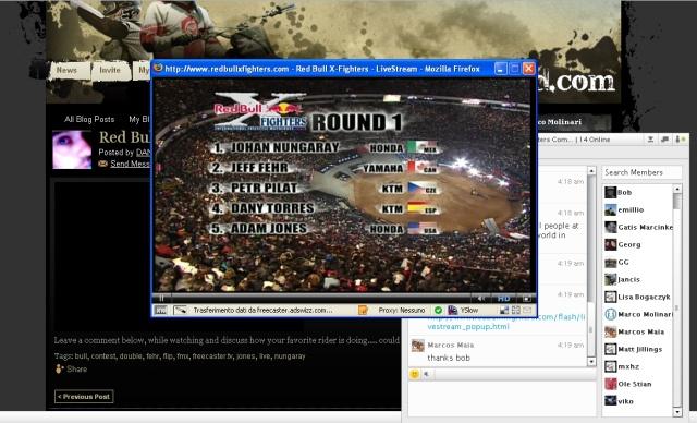 Il mio desktop durante il webcasting
